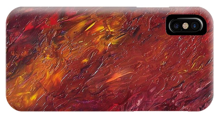 Abstract IPhone X / XS Case featuring the painting Abstraction Of A Dream by Emily Young
