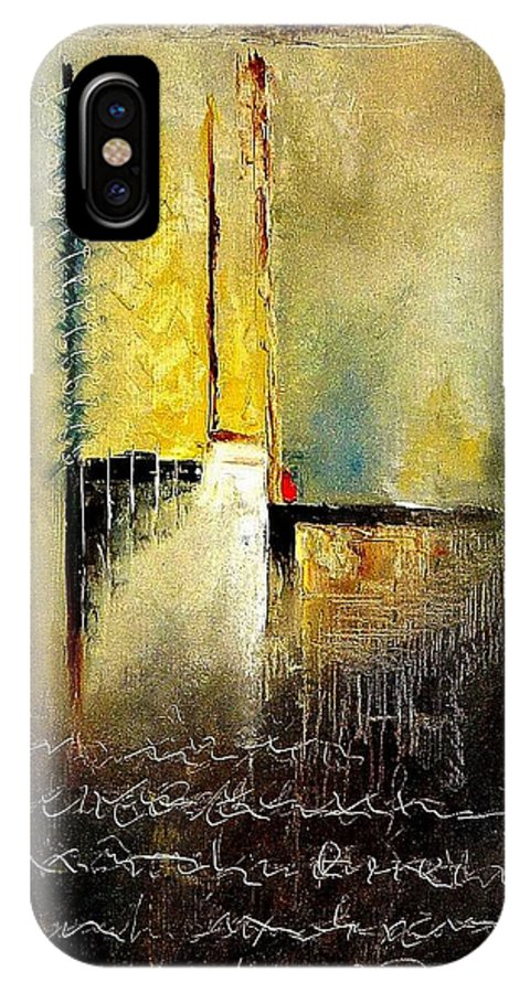 Abstract IPhone X Case featuring the painting Abstrct 3 by Pol Ledent
