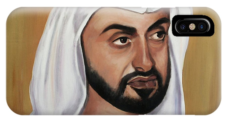 Abu Dhabi IPhone X Case featuring the painting Abu Dhabi Crown Prince by Fiona Jack