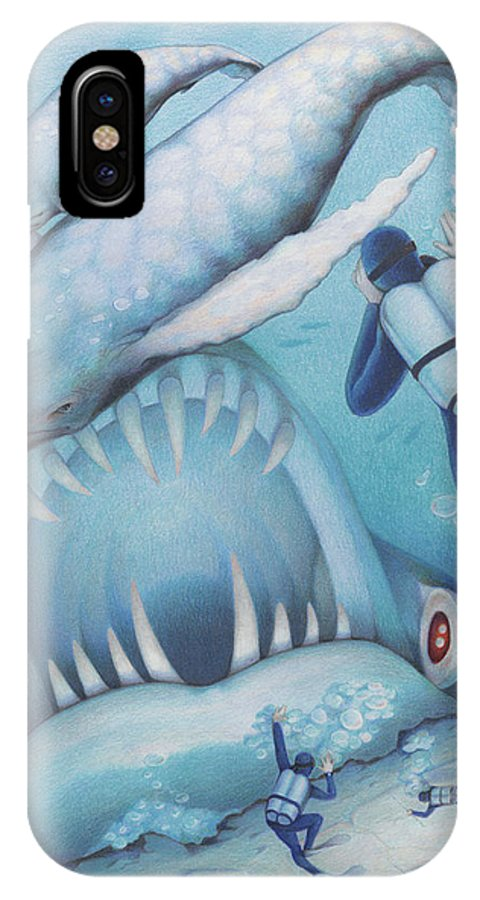 Sea IPhone X Case featuring the drawing Abysmal Maw by Amy S Turner