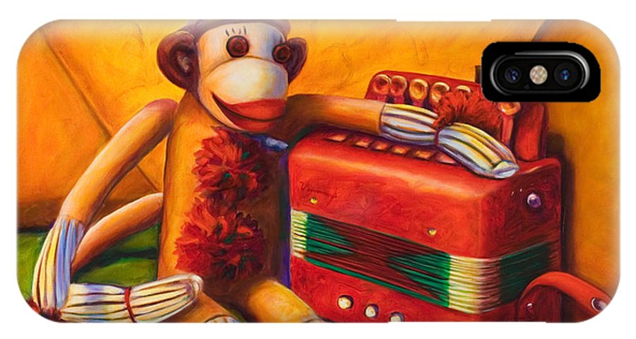 Children IPhone X Case featuring the painting Accordion by Shannon Grissom