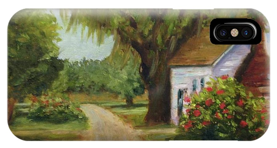 This Is A Little Out Building Off Of Grove Plantation Home At Ace Basin Close To Charleston IPhone X Case featuring the painting Ace Basin Cottage by Rosie Phillips