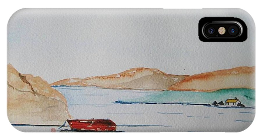 Ireland West Of Ireland Seaview Peaceful Day IPhone X Case featuring the painting Achill II by Roger Cummiskey