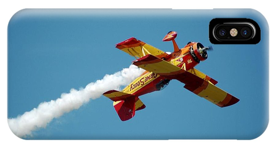Plane;airplane;airshow IPhone X Case featuring the photograph Acrobat Blue by Cynthia Bowen