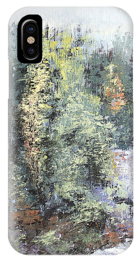 Landscape IPhone X Case featuring the painting Across The Ravine by Todd Blanchard