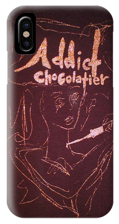 Dark Chocolate IPhone X Case featuring the drawing Addict Chocolatier by Ayka Yasis