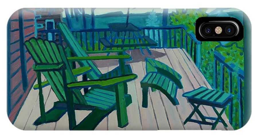 Ocean IPhone X Case featuring the painting Adirondack Chairs Maine by Debra Bretton Robinson