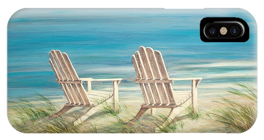 Adirondack Chairs IPhone X Case featuring the painting Adirondack Chairs by Tina Obrien