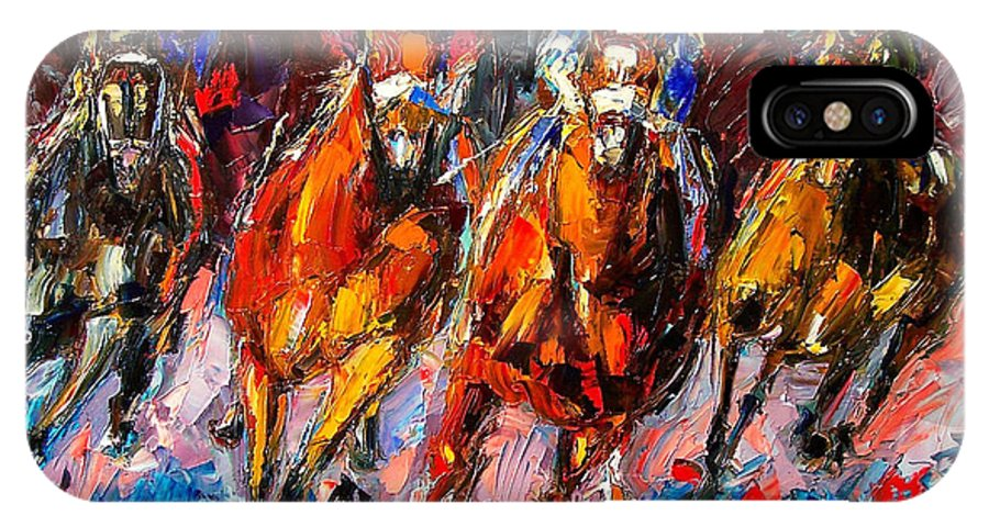 Horse Race IPhone X Case featuring the painting Adrenaline by Debra Hurd
