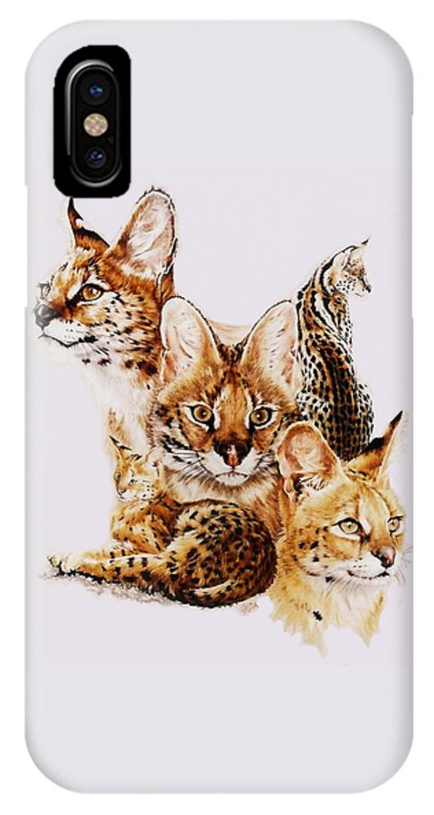 Serval IPhone X Case featuring the drawing Adroit by Barbara Keith