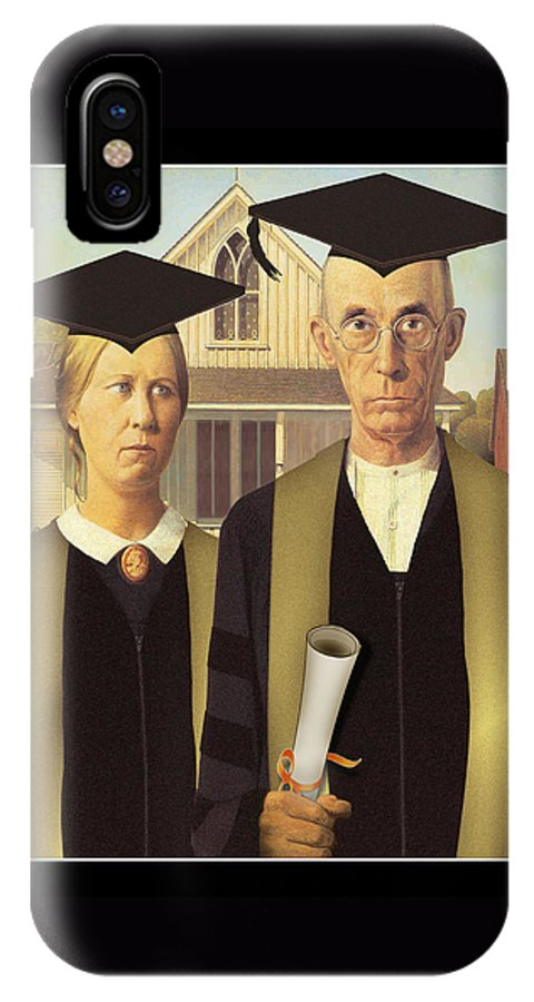 Grant Wood IPhone X Case featuring the painting Adult Graduates by Gravityx9 Designs
