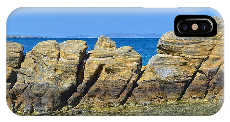 Stone IPhone X Case featuring the photograph Aegean Rocks by Eric Reger