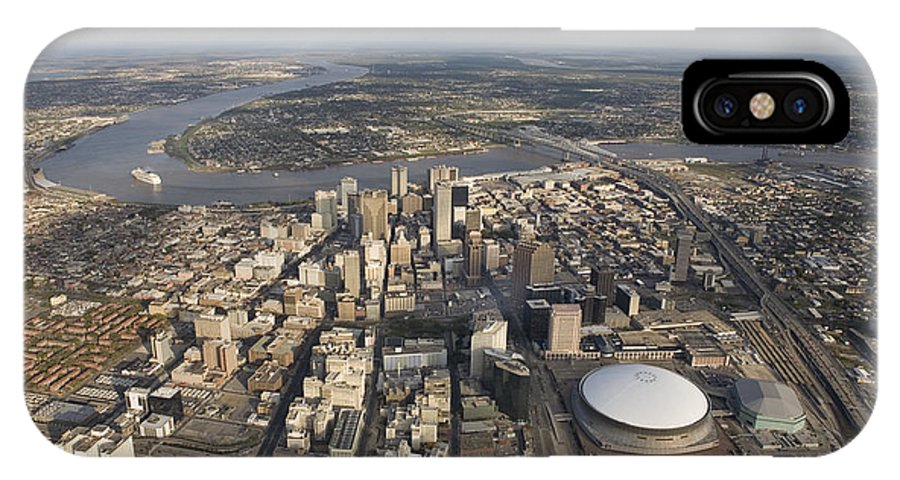 Day IPhone X Case featuring the photograph Aerial Of New Orleans Looking East by Tyrone Turner