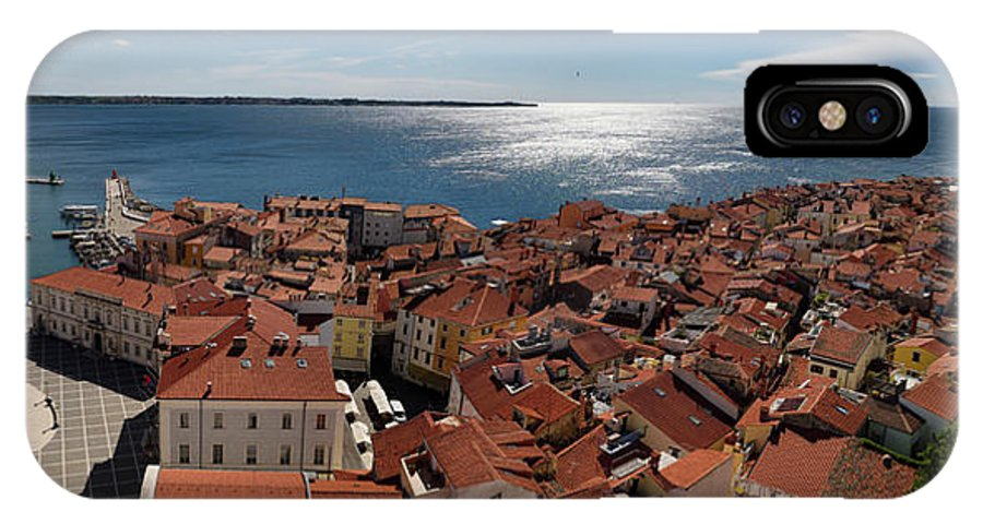 Aerial IPhone X Case featuring the photograph Aerial Panorama Of Piran Slovenia On Adriatic Sea With Marina An by Reimar Gaertner