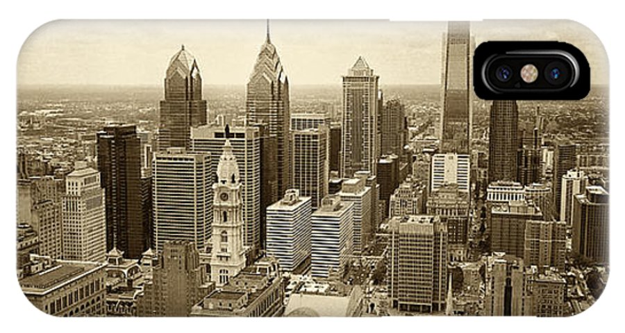 Philadelphia IPhone X Case featuring the photograph Aerial View Philadelphia Skyline Wth City Hall by Jack Paolini