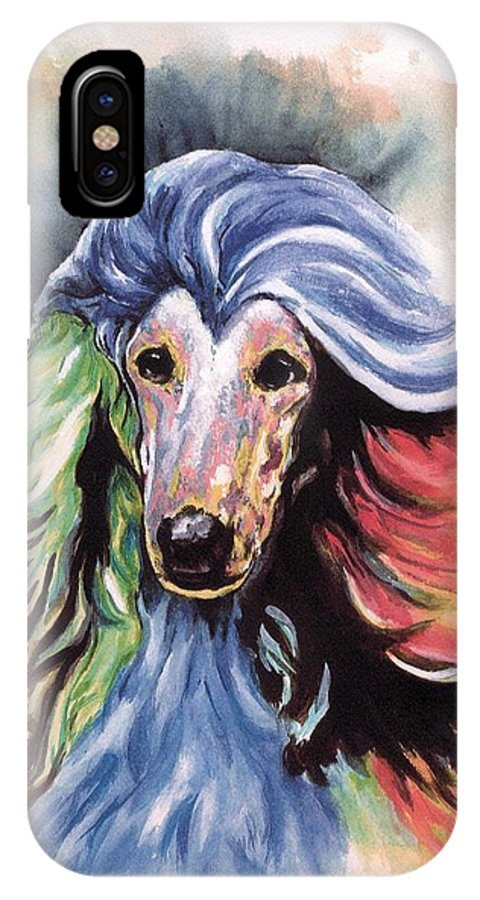 Afghan Hound IPhone X Case featuring the painting Afghan Storm by Kathleen Sepulveda
