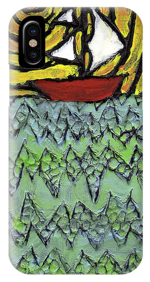 Sailing IPhone X Case featuring the painting Afloat On The Bubbling Sea by Wayne Potrafka