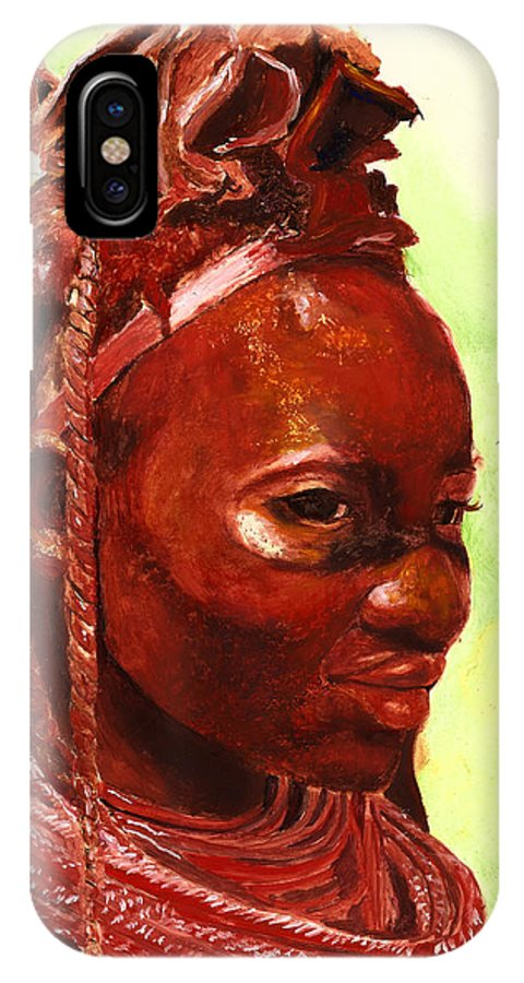 People Portrait IPhone X Case featuring the painting African Beauty by Portraits By NC