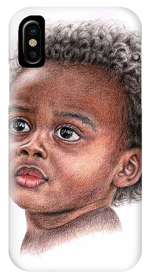 Child IPhone X Case featuring the drawing African Child by Nicole Zeug