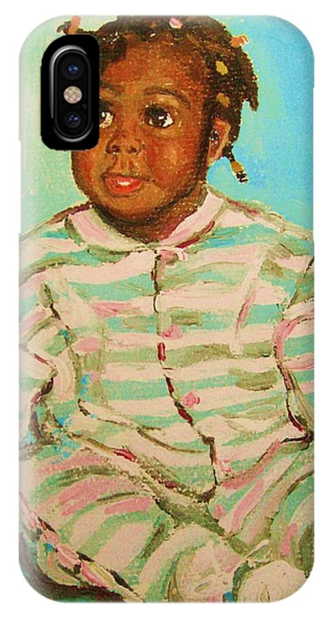 Africa IPhone X Case featuring the painting African Cutie by Carole Spandau