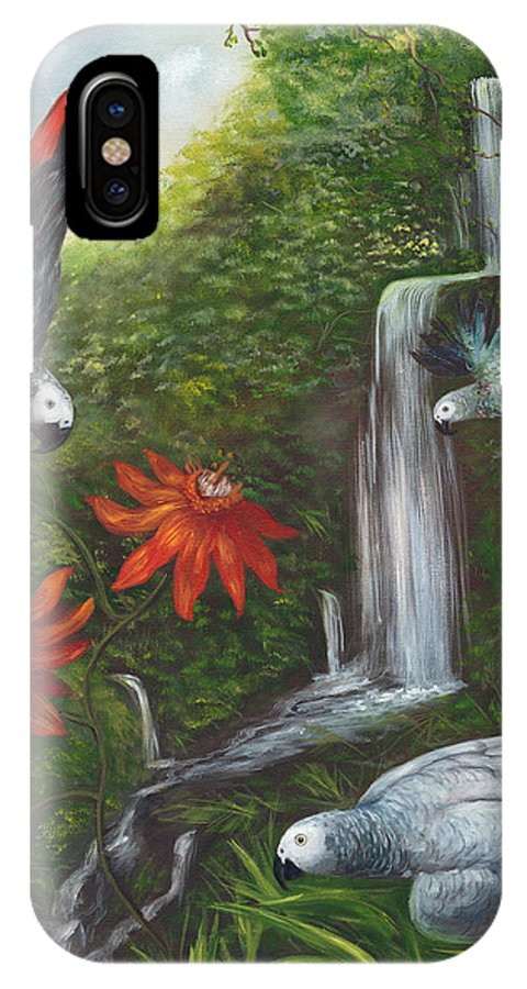 Landscape IPhone X / XS Case featuring the painting African Grays by Anne Kushnick