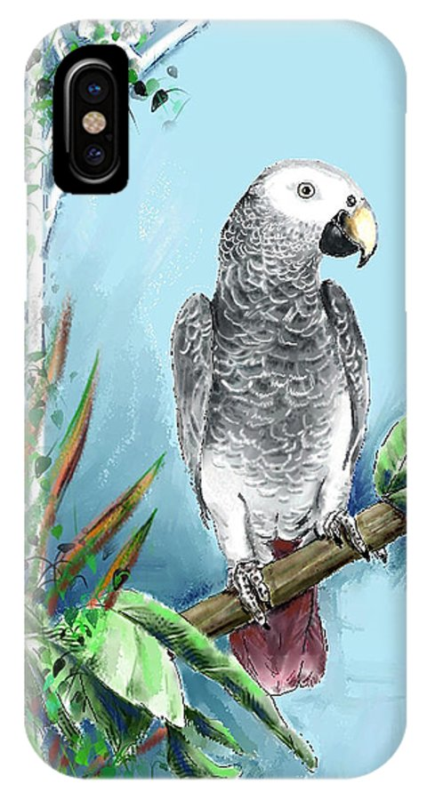 Birds IPhone X Case featuring the digital art African Grey Parrot by Arline Wagner