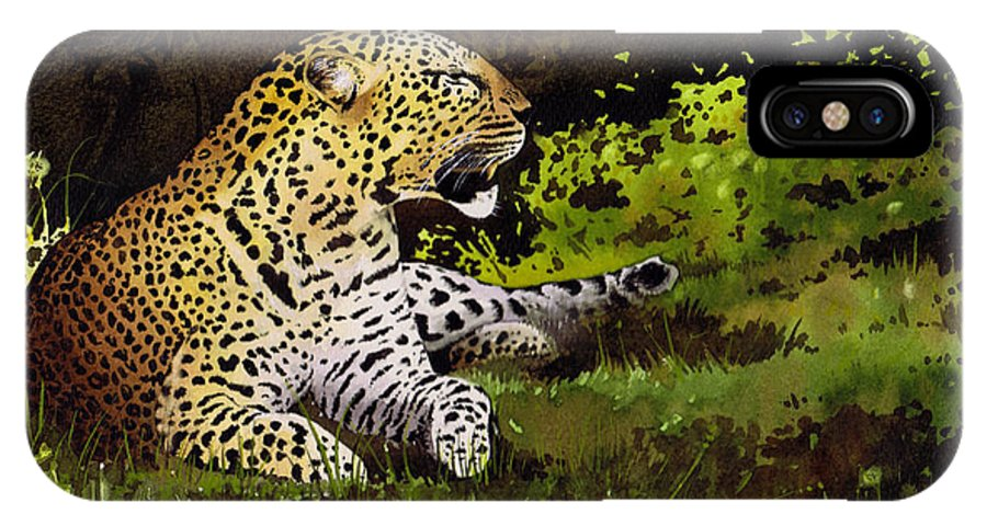 Leopard IPhone X Case featuring the painting African Leopard by Paul Dene Marlor