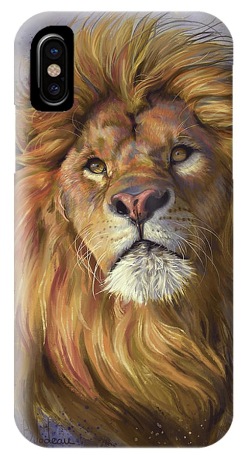 Lion IPhone X Case featuring the painting African Lion by Lucie Bilodeau