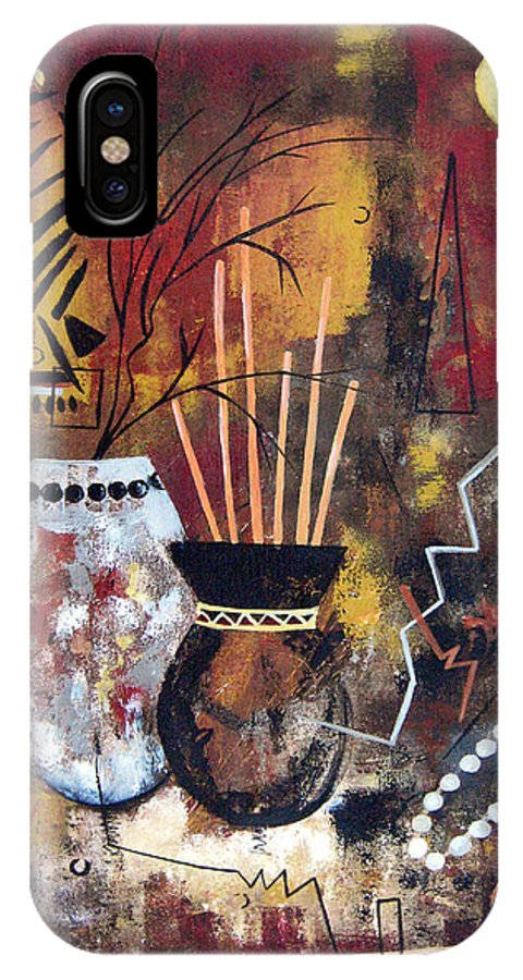 Abstract IPhone X / XS Case featuring the painting African Perspective by Ruth Palmer