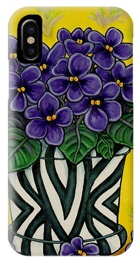 Violets IPhone X / XS Case featuring the painting African Queen by Lisa Lorenz