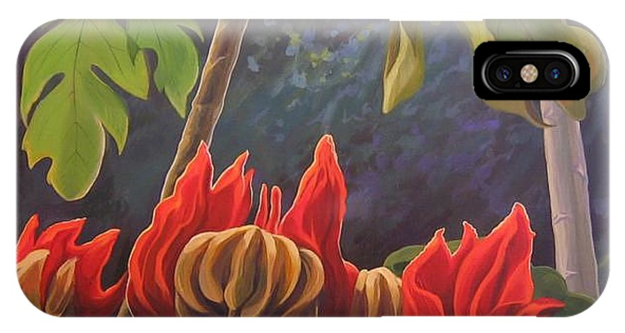 African Tulip IPhone X Case featuring the painting African Tulip by Hunter Jay