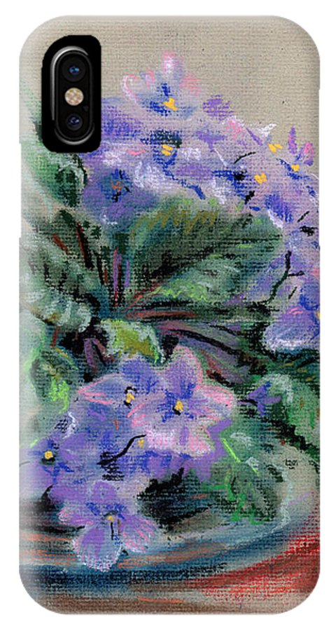 African Violets IPhone X Case featuring the drawing African Violet by Donald Maier