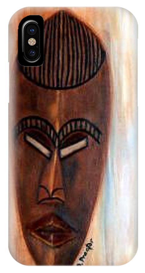 African IPhone X Case featuring the painting African Warrior by Donna Proctor
