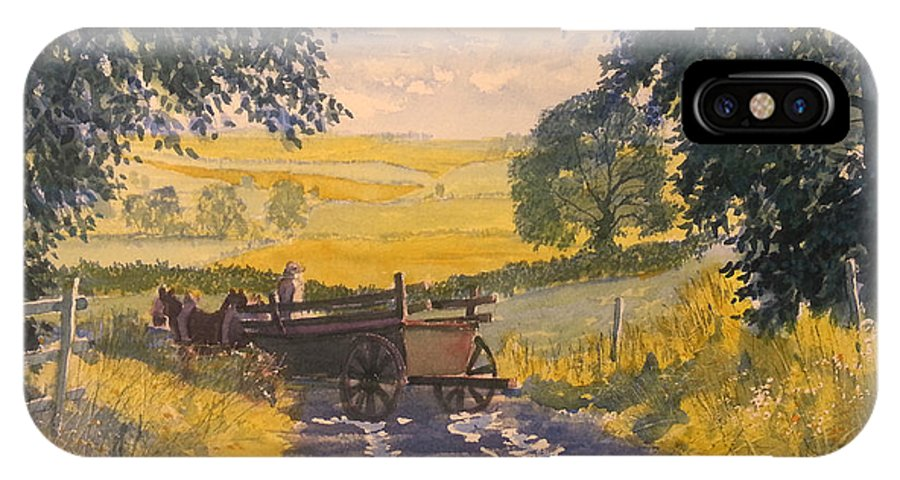 Glenn Marshall Yorkshire Artist IPhone X Case featuring the painting After Rain On The Wolds Way by Glenn Marshall