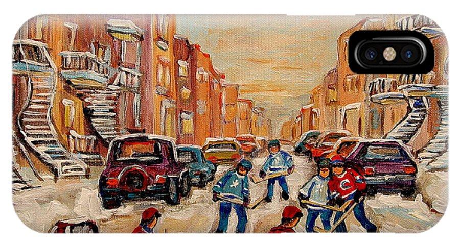 After School Hockey Game IPhone X Case featuring the painting After School Hockey Game by Carole Spandau