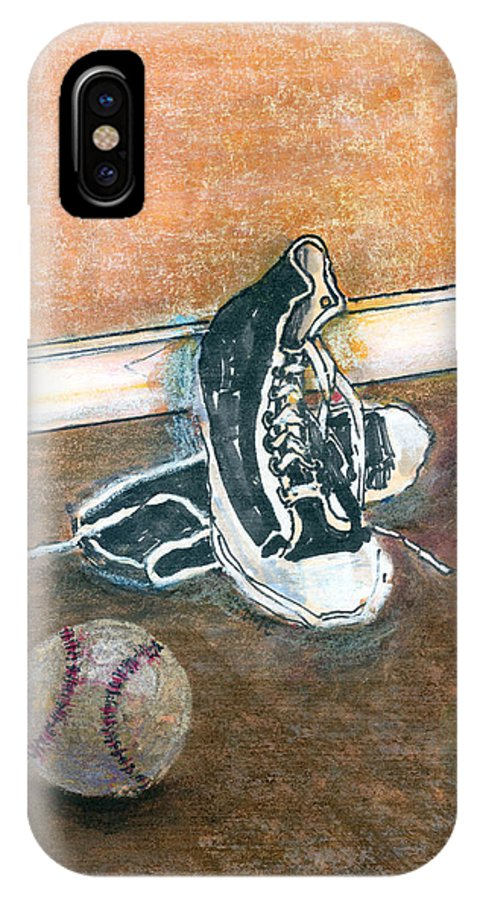 Tennis Shoes IPhone X Case featuring the mixed media After The Game by Arline Wagner