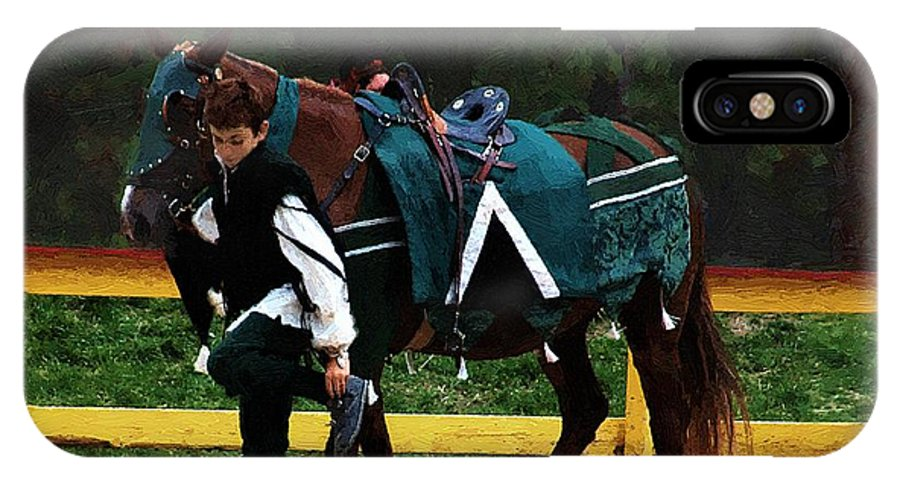 Horse IPhone X Case featuring the painting After The Joust by RC DeWinter