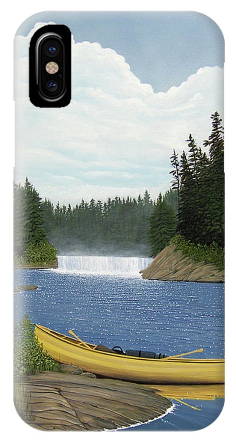 Landscapes IPhone X Case featuring the painting After The Rapids by Kenneth M Kirsch