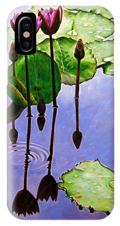Rose Colored Water Lilies After A Morning Shower With Dark Reflections And Water Ripple. IPhone X Case featuring the painting After The Shower by John Lautermilch