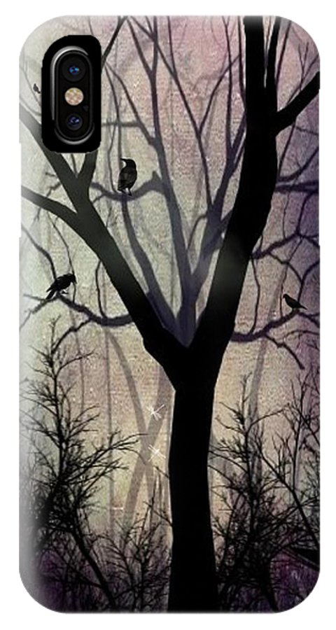 Trees IPhone X Case featuring the digital art After Twilight by Charlene Zatloukal