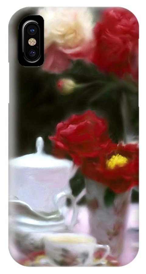 Peonies IPhone X Case featuring the digital art Afternnon Tea With Peonies by Stephen Lucas