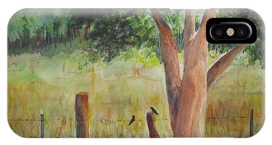 Landscape IPhone X Case featuring the painting Afternoon Chat by Vicki Housel