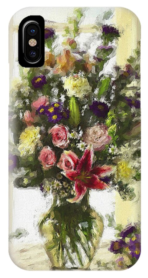Flowers IPhone X / XS Case featuring the digital art Afternoon Kissed Of Color by Stephen Lucas
