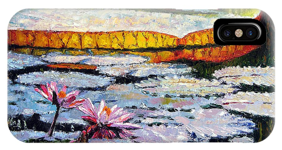 Water Lilies IPhone X Case featuring the painting Afternoon Shadows by John Lautermilch