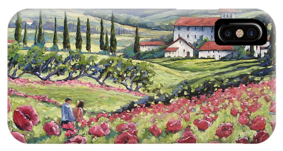 Tuscan IPhone X Case featuring the painting Afternoon Stroll by Richard T Pranke