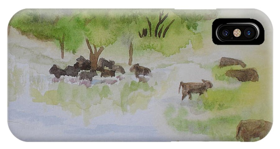Cow IPhone X Case featuring the painting Afternoon Swim by Vicki Housel