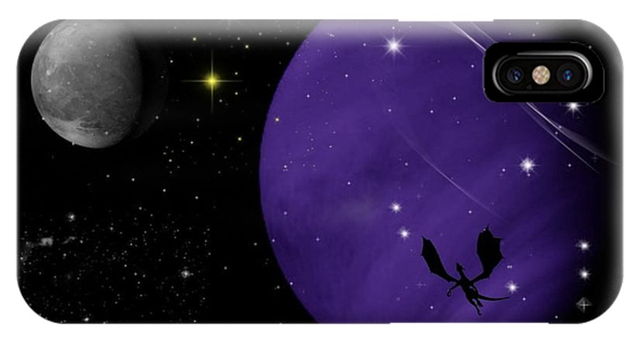 Dragon IPhone X Case featuring the digital art Again They Rise by Rhonda Barrett