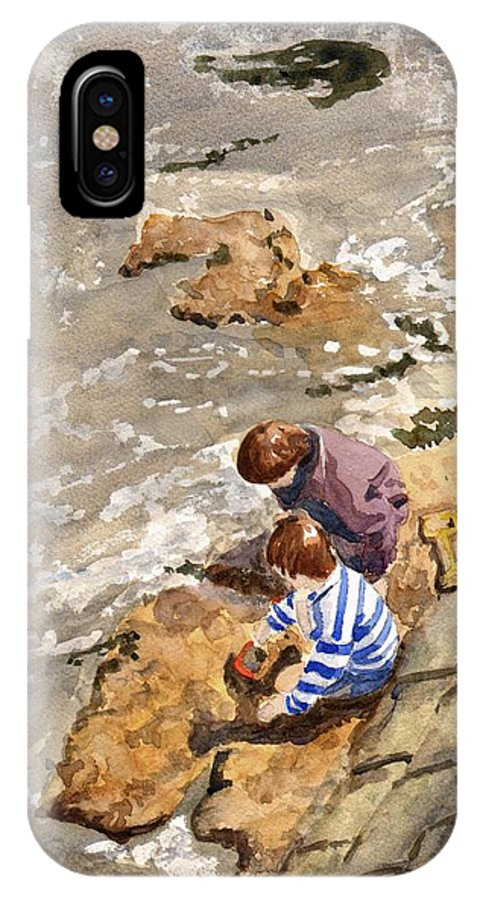 Water. Sea. Tide. Boys. Children. Coast. Beach. Coastal. Sand. Sea. Play. IPhone X Case featuring the painting Against The Tide by John Cox