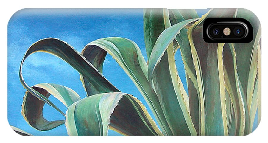 Floral Painting IPhone X Case featuring the painting Agave by Muriel Dolemieux