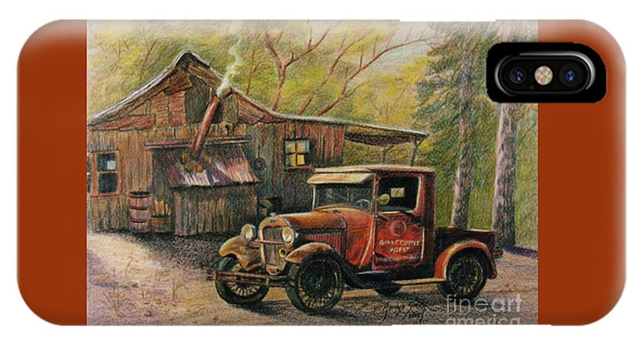 Old Trucks IPhone X Case featuring the drawing Agent's Visit by Marilyn Smith